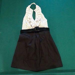 Bebe dressy/dress casual halter-dress black/stripe